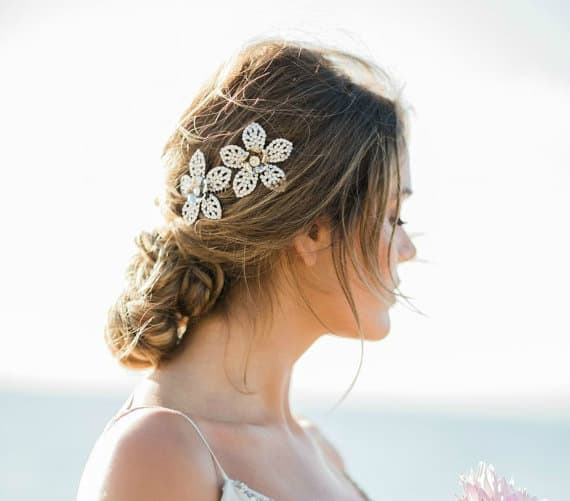 Swarovski Crystals, Plated Metal Flowers bridal hair comb