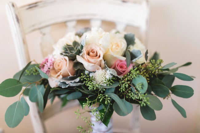 bouquet with pale flowers