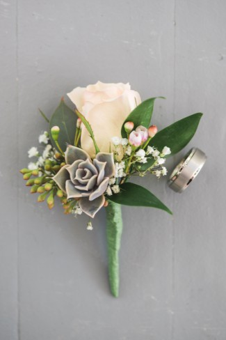 boutonniere with wedding band