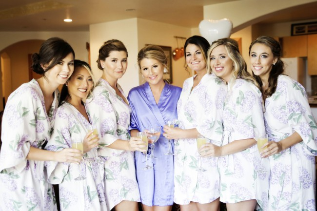 bridesmaids in morning robes