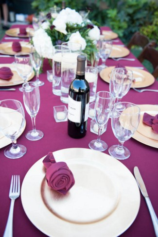 burgundy wedding table scape