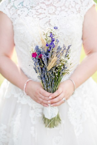 Bride Holds Lavender Bouquet