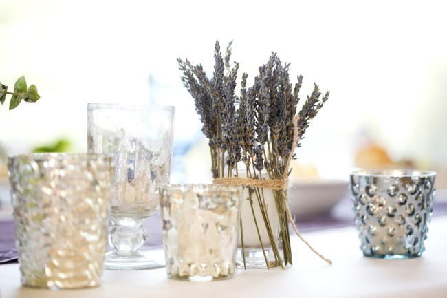 dried lavender attached to candle