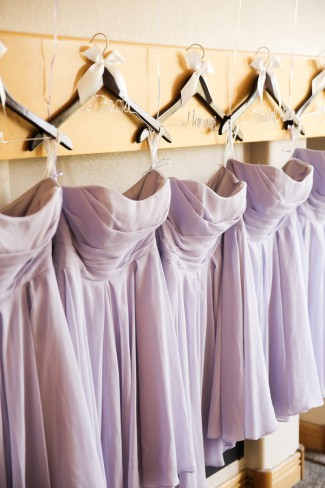 lilac bridesmaid dresses on custom hangers