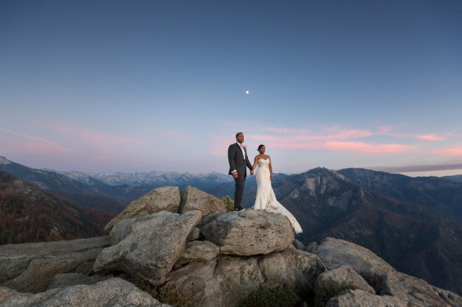 newlyweds on rocks at Sequoia National Park