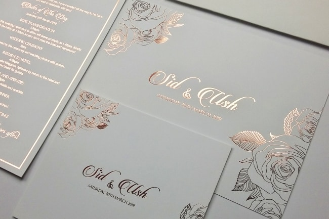 rose gold foil wedding invite
