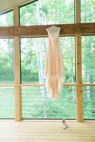 soft peach gown hanging
