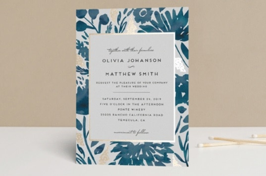 Watercolor Delight Gold Foil Wedding Invite By Minted