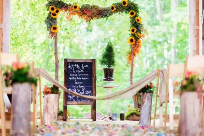 wedding ceremony aisle at Cherry Basket Farm
