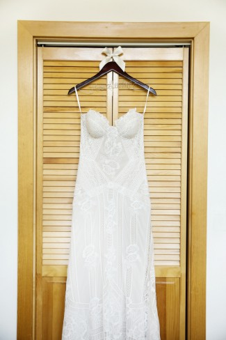 wedding gown on custom hanger
