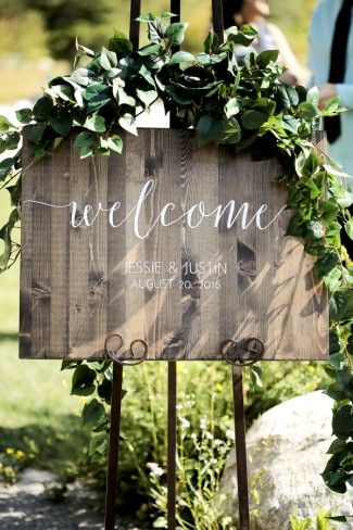 welcome sign on easel