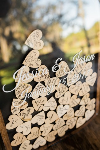 wood hearts guestbook