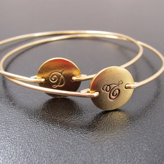 Bridesmaid Jewelry golg bangle with initials