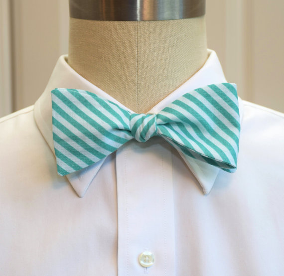 Men's Bow Tie in teal and aqua stripes