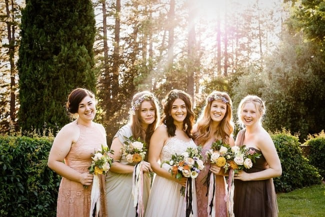 pastel wedding with boho bride and bridesmaids
