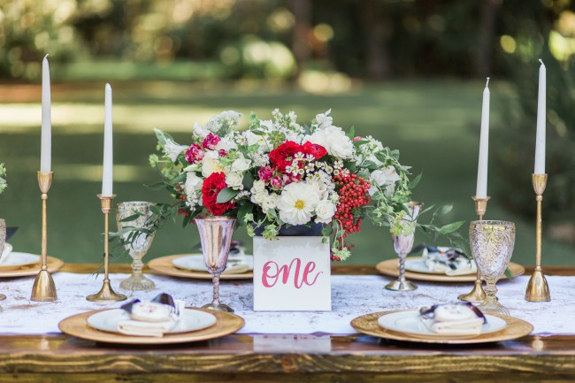 Queen of Hearts styled tablescape