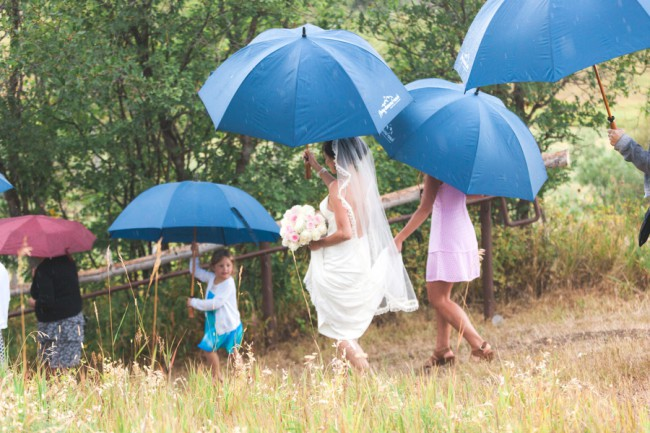blue umbrellas for wedding at Steamboat Springs