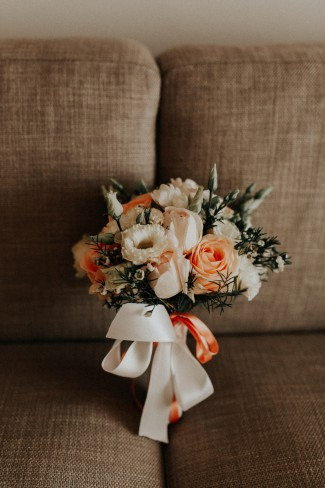 bouquet on couch