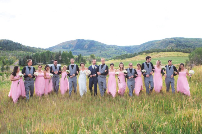 bridal party in grass