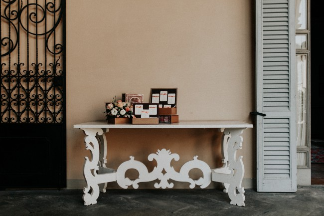 interior table with guest book