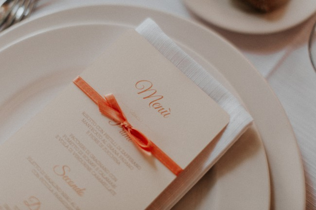 menu with orange ribbon