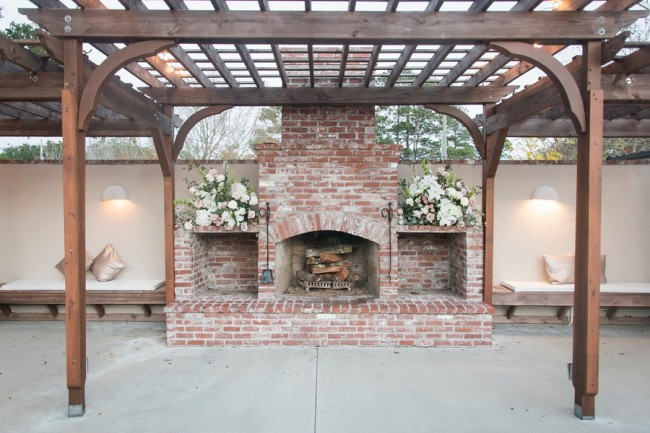 outdoor firepit reception area