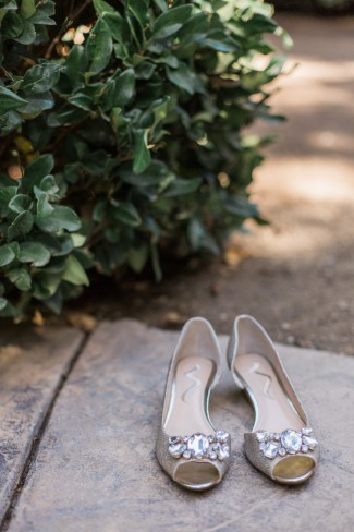 peep toe flats with large crystals