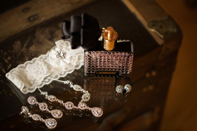 perfume bottle and bridal jewelry