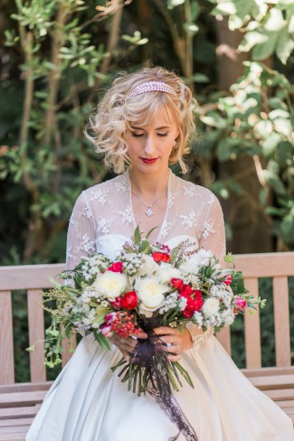 styled shoot bride with bouquet
