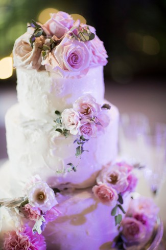 tiered cake with purple