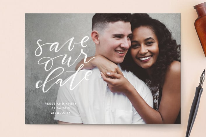 Chalkboard save the dates by Minted