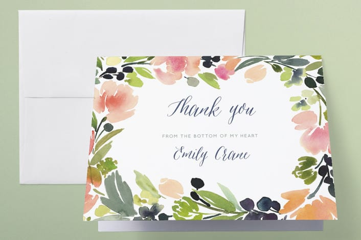 MInted's Watercolor Wreath wedding thank you cards