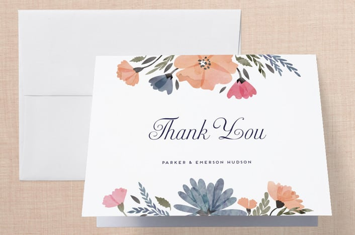 Minted Romantic Watercolor Flora wedding thank you cards