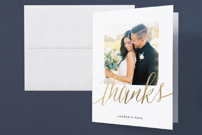 Minted's A Sparkly Love wedding thank you cards