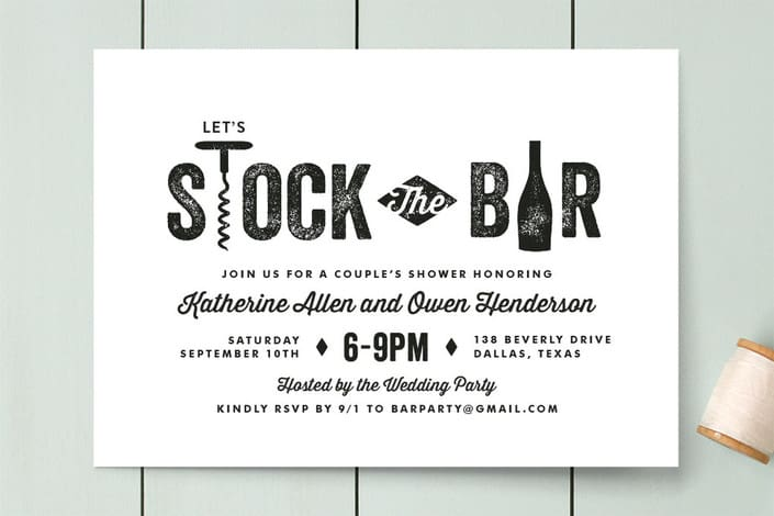 Minted's Bar Cart engagement party invitations