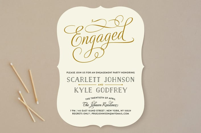 Mintedu0027s Chic Engagement Engagement Party Invitations  Format Of Engagement Invitation