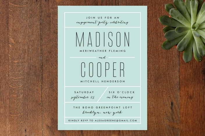 Minted's Downtown Chic engagement party invitations