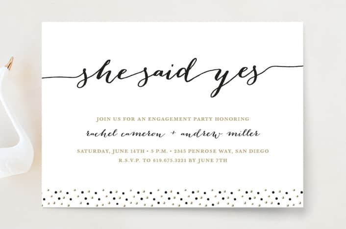Minted's Elegant Dots engagement party invitations