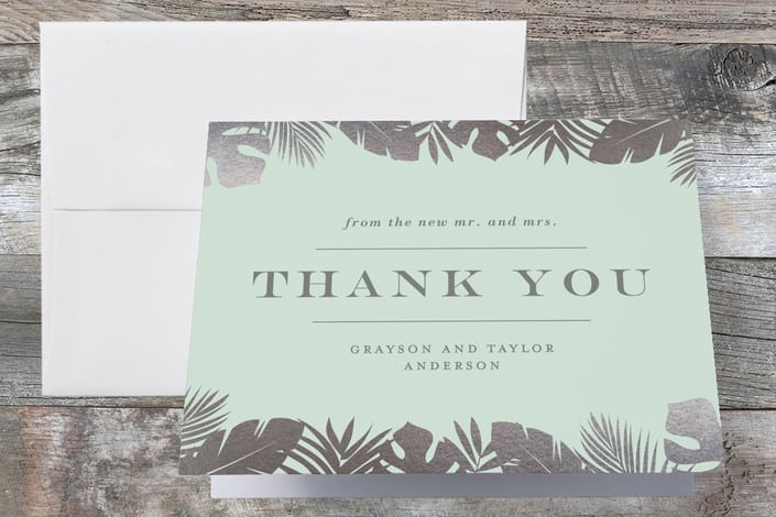 Wedding guide how to word wedding thank you cards minteds gilded palm wedding thank you cards junglespirit Image collections