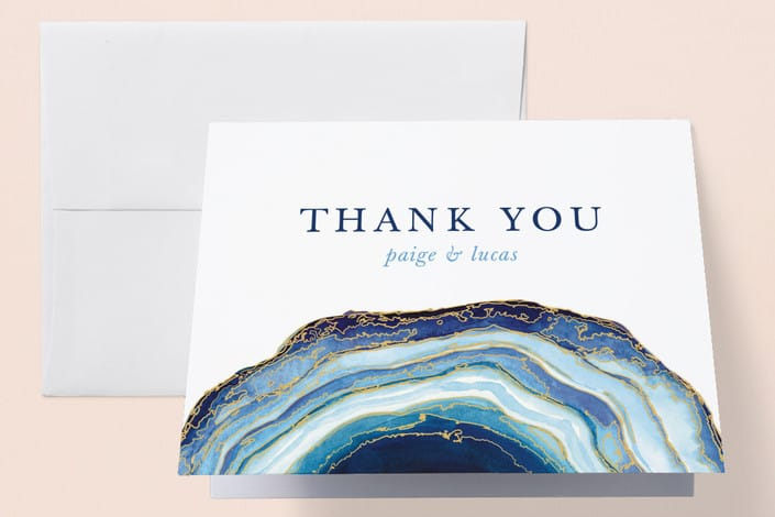 Minted's Gilt Agate wedding thank you cards