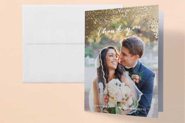 Minted's Gold Rush wedding thank you cards
