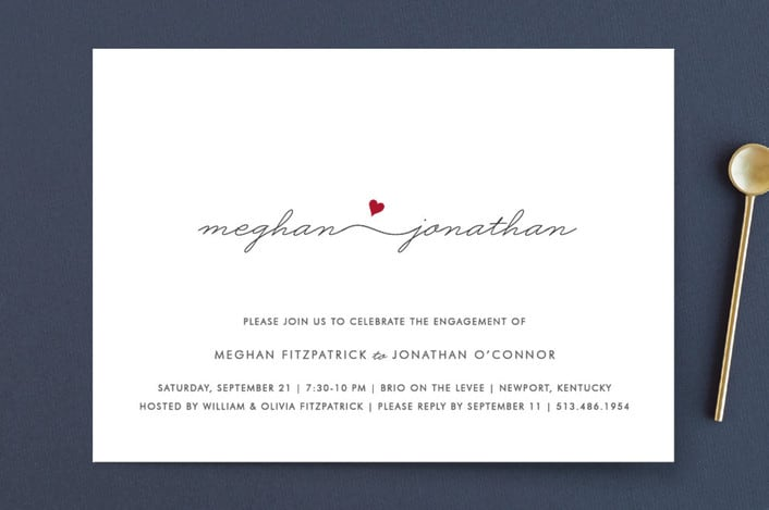 Minted's Love Connection engagement party invitations