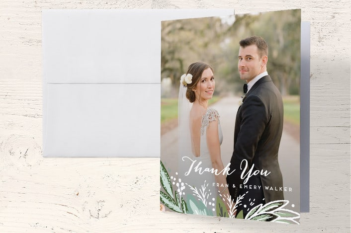 Minted's Meadow Breeze wedding thank you cards