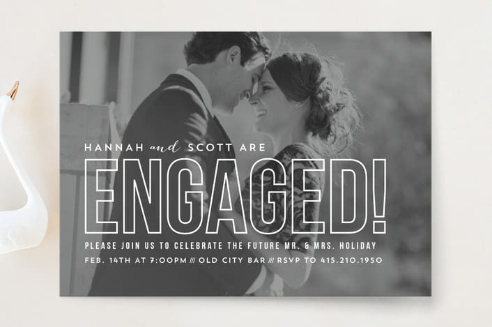 Minted's Modern Romantic engagement party invitations