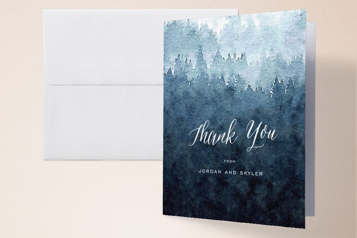 Minted's Mountain Retreat wedding thank you cards