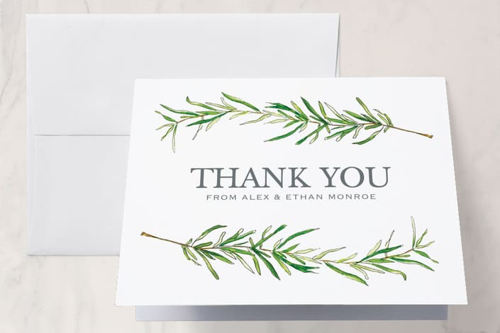 Minted's Simple Sprigs wedding thank you card