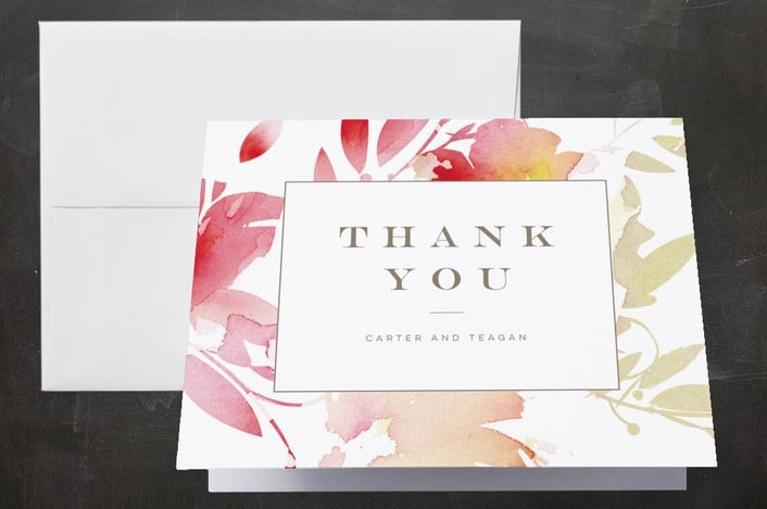 Minted's Stately Florals wedding thank you cards