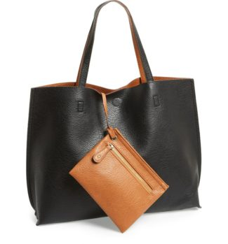 Reversible Faux Leather Tote & Wristlet Street Level