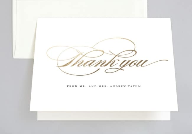 Shimmering Gold Foil wedding thank you cards by Minted
