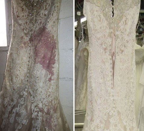 Stained wedding dress with red wine